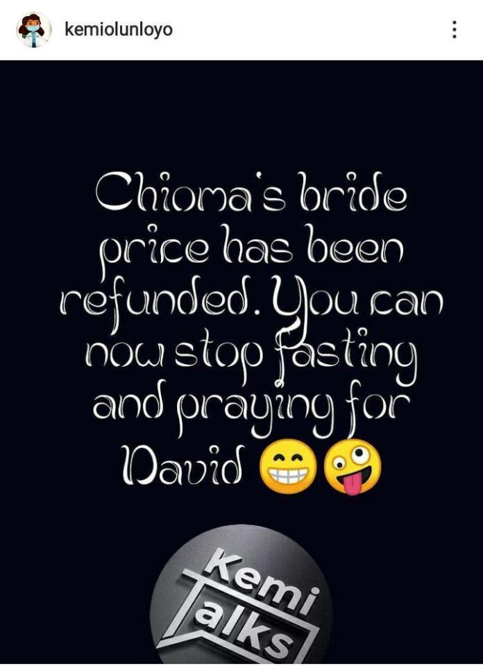 """Chioma's bride price has been refunded"" - Kemi Olunloyo says as regards custody of Davido's son"