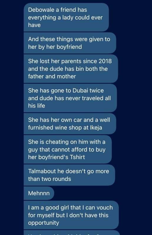 Lady exposed of cheating on her rich boyfriend because he doesn't last in bed