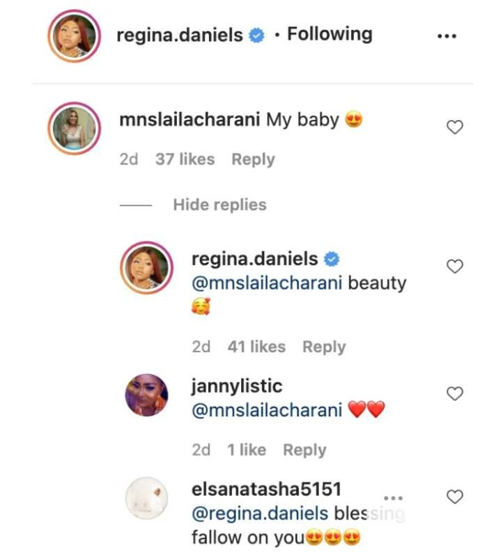 """""""My baby"""" - Regina Daniels' co-wife, Laila gushes over her new photos"""