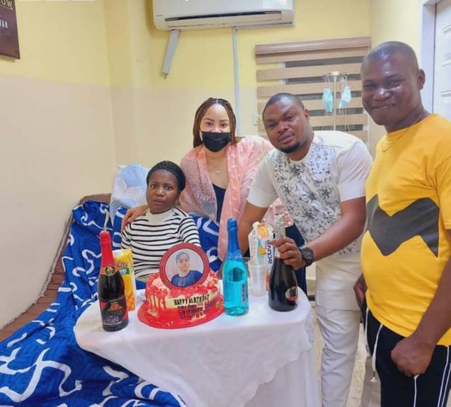 Well-wishers celebrate with Ada Jesus in hospital as she marks her birthday