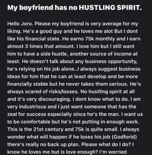 """""""My boyfriend has zero hustling spirit, relies on salary"""" - Lady earning 3X more than her man notes"""