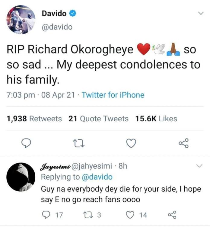 """""""Everyone is dying around you, hope it won't get to fans"""" - Troll attacks Davido"""