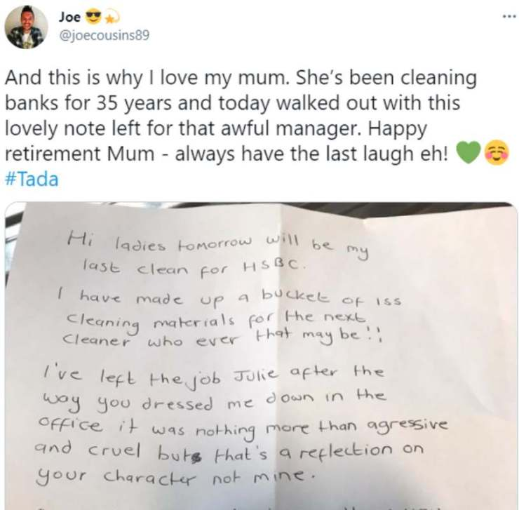 """""""Be kind, you are not better than the cleaner"""" - Woman resigns after 35 years as a bank cleaner"""