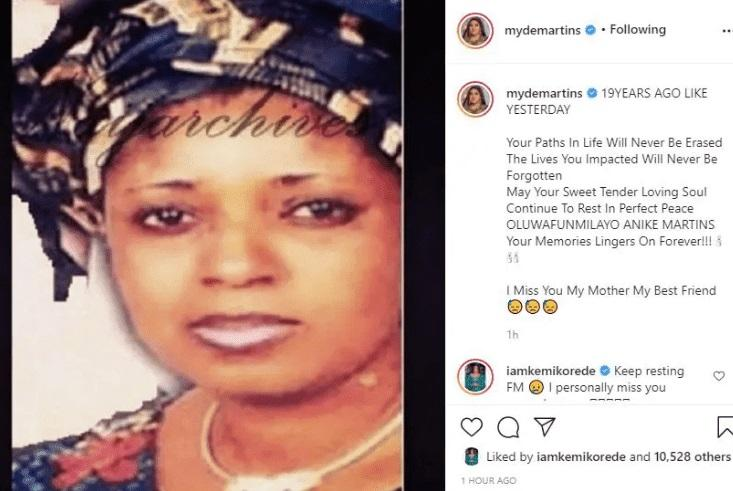 Mide Martins pens tribute to mother Funmi Martins