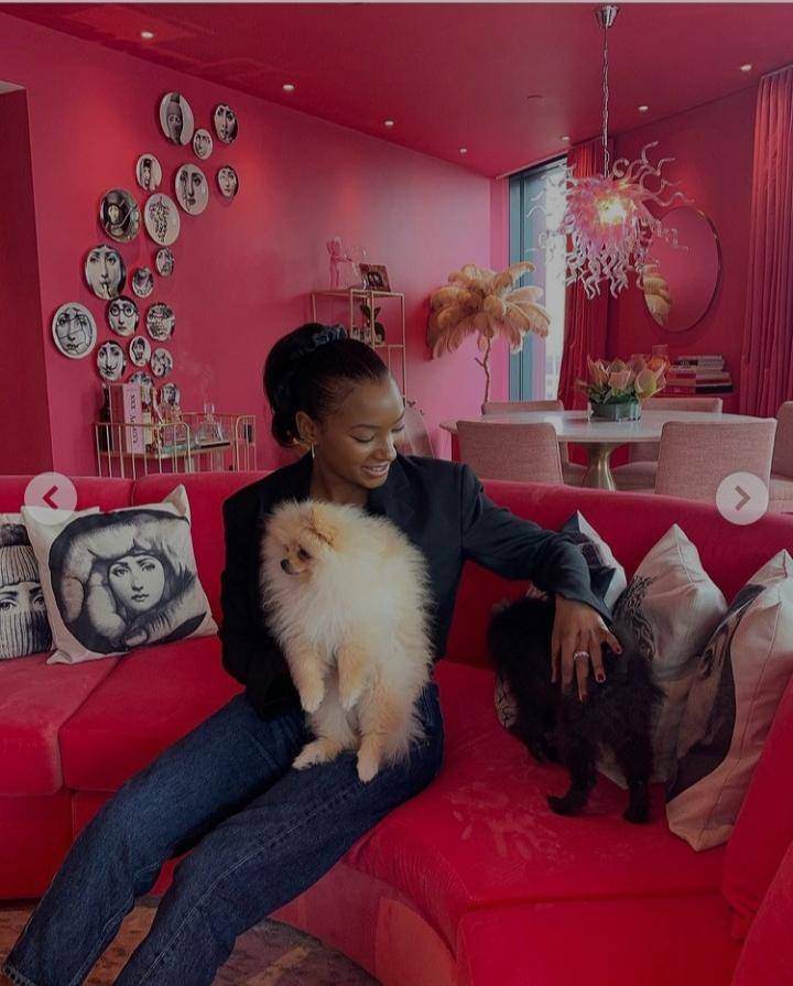 Temi Otedola shares lovely pictures with DJ Cuppy's 'Pomeranian sons,' calls them her cousin