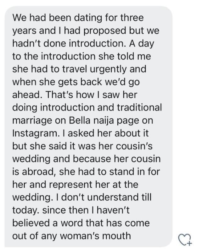 Man narrates how he saw his girlfriend getting married to someone else a day to their introduction