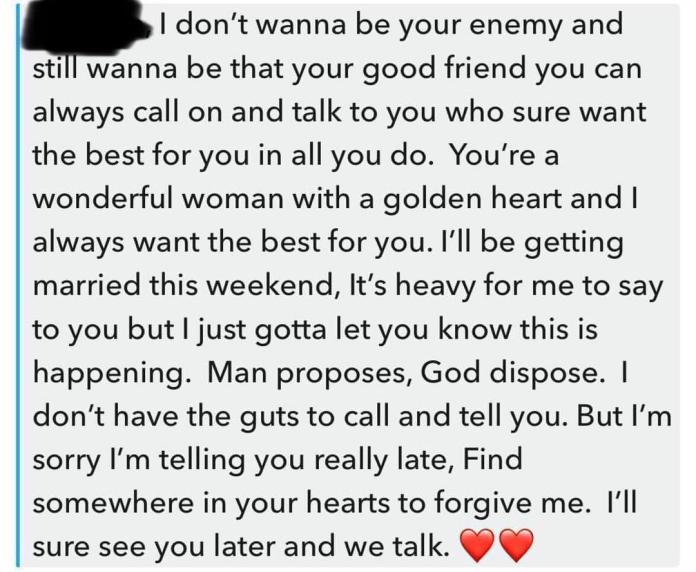 Man pens note to girlfriend informing her of his wedding to another woman