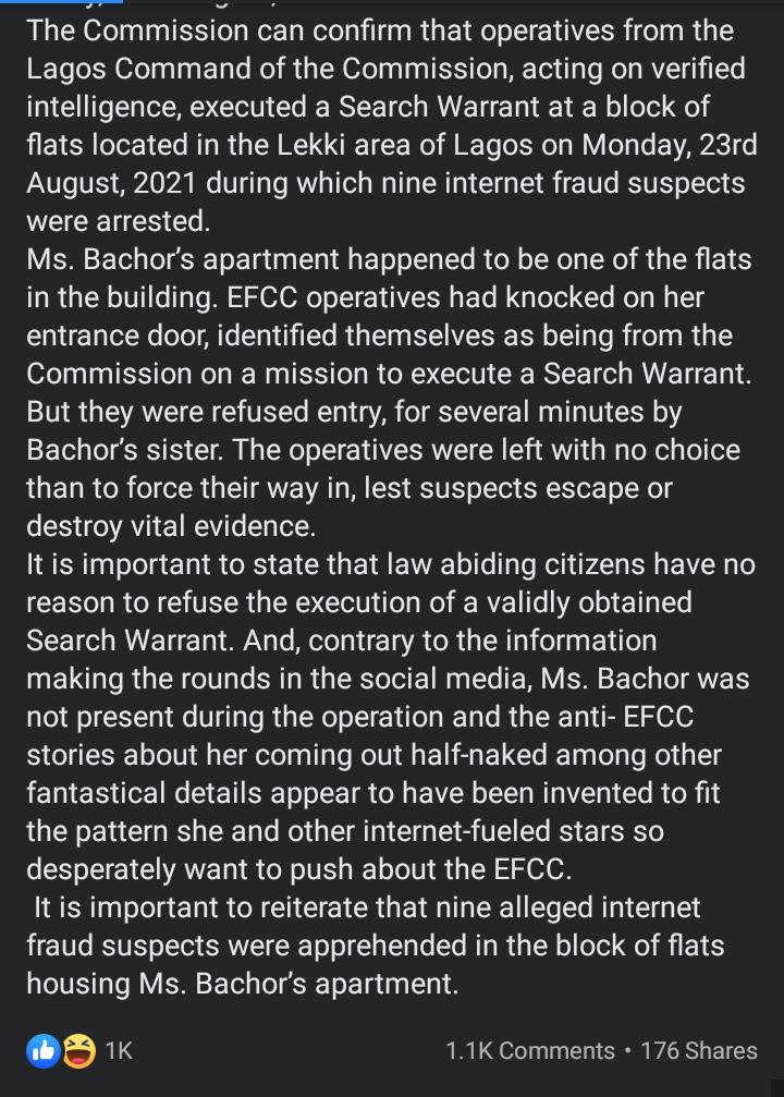 """Nine internet fraud suspects were arrested in BBNaija Dorathy's block of flats""- EFCC reveals"