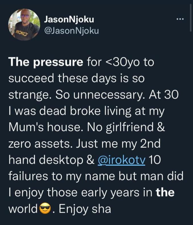 """Pressure to succeed at under 30 is unnecessary"" - IrokoTv Boss, Jason Njoku"