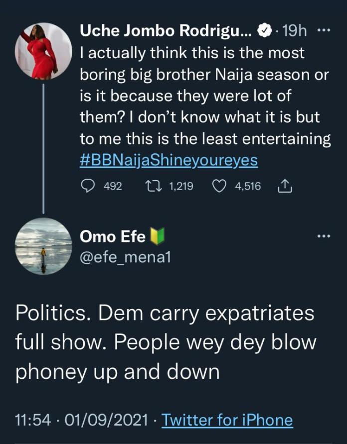 """""""Housemates just want to sleep, eat WhiteMoney's food"""" - Uche Jombo, fans tag this year's BBNaija show as boring"""