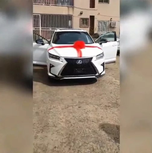 Emotional moment Yemi Alade gifts mother brand new Lexus SUV as birthday present (Video)