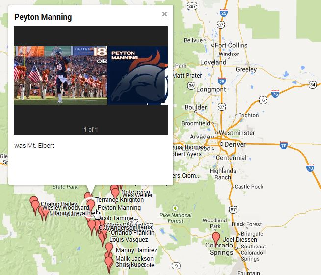 Colorado Rockies, Denver Broncos 14ers Google Map