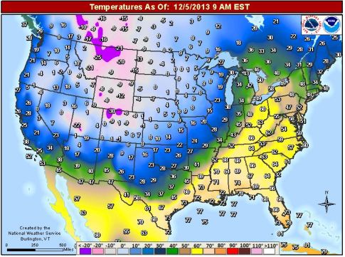 temperature map of USA