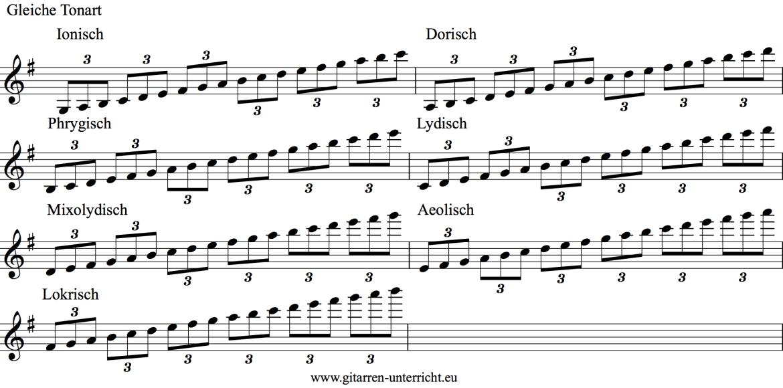 Tonleitern 3 Toene - Saite Gleiche Tonart
