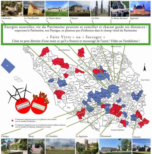 Carte des projets éoliens en Vendée