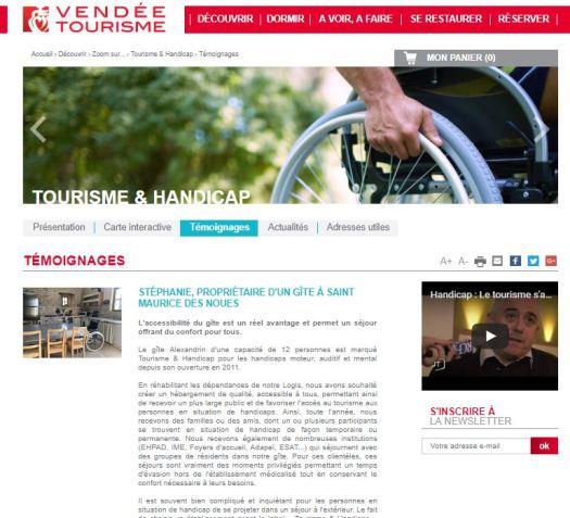 Témoignage accessibilité sur Vendée Tourisme