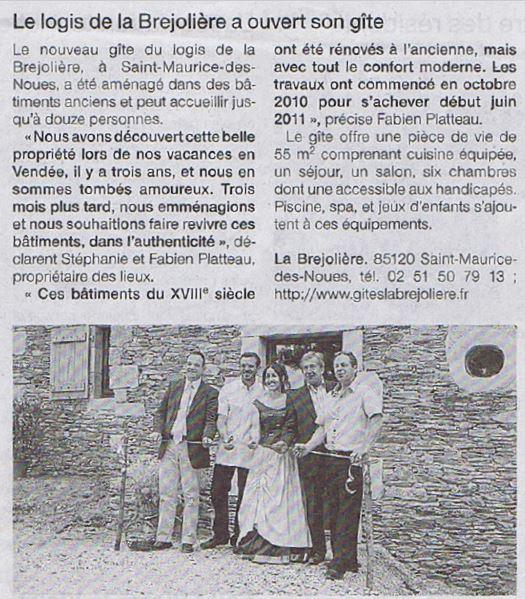 Article inauguration gîtes La Bréjolière