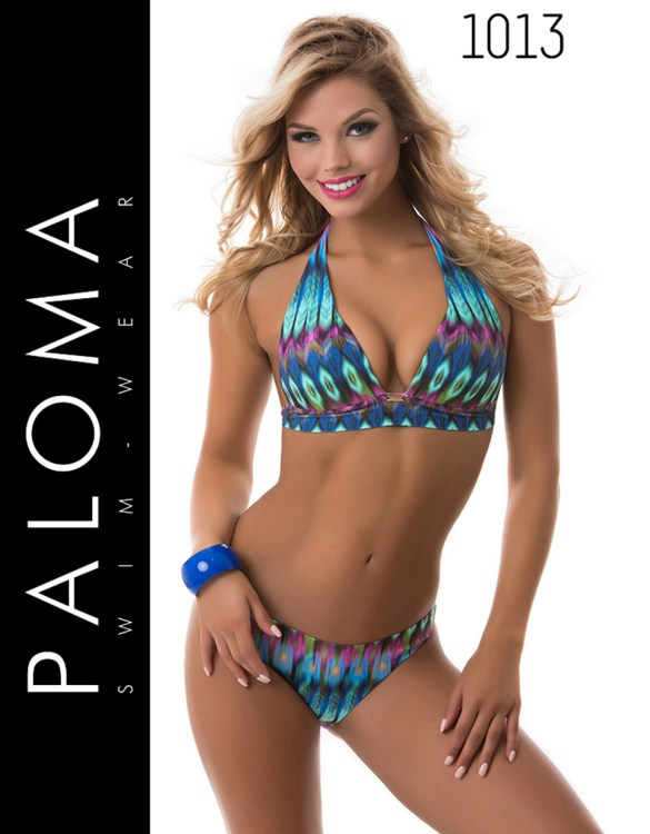 PALOMA pávatoll mintás nyakba kötős bikini 1013
