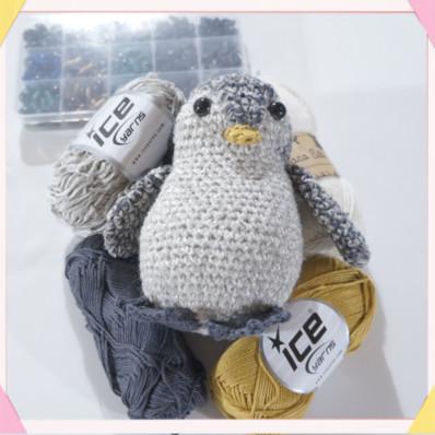 used yarn to make the amigurumi baby penguin