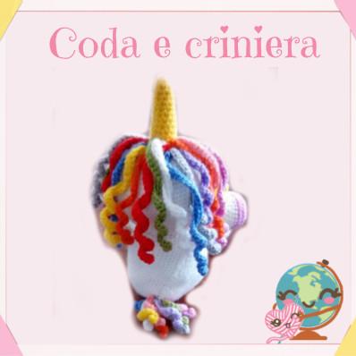 traduzione unicorno amigurumi portoghese - coda e criniera