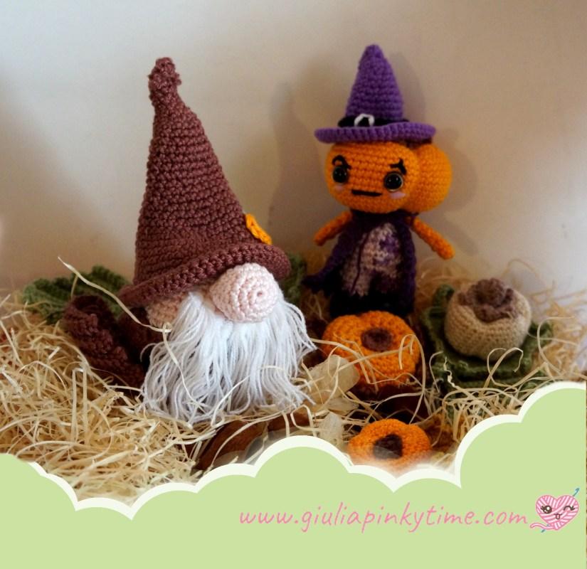 Amigurumi Gnomo Pumpkin con Zucca Stregone