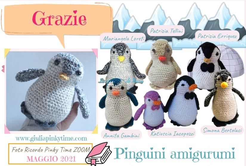 Tutti i pinguini amigurumi realizzati durante l'evento.