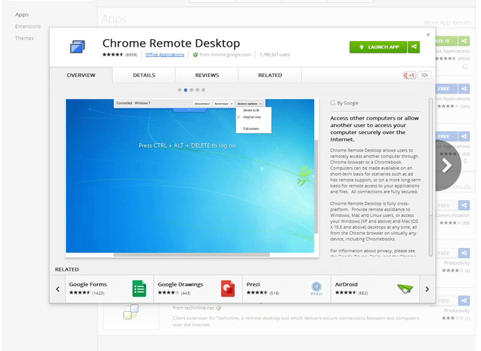Chrome Remote Desktop extension in the App Store