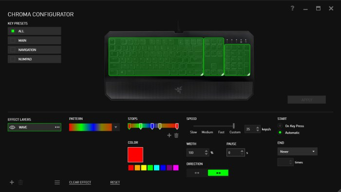 The Deathstalker Chroma Configurator - Notice the limited options on the left.