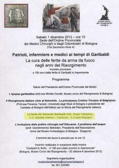 Mostra Garibaldina presso l'Ordine dei Medici di Bologna, dicembre 2012