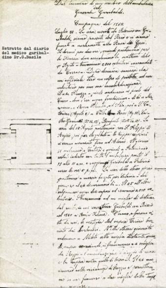 Giuseppe Basile pagina del diario