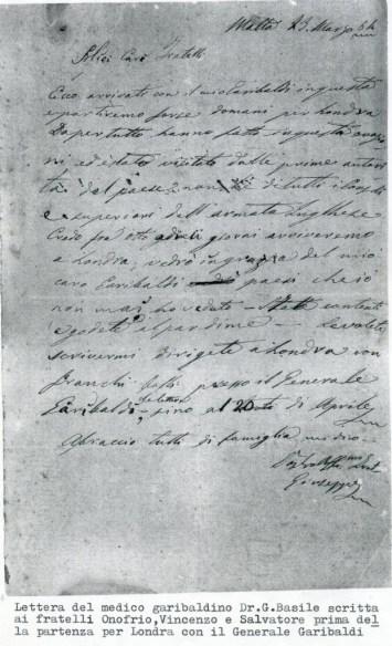 Giuseppe Basile, lettera ai fratelli garibaldini di Londra