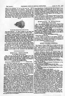 """Articolo sul volume """"Storia della ferita di Garbaldi"""" del Basile sulla rivista medica inglese The Lancet"""