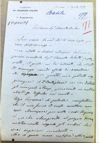 Lettera di Giuseppe Basile a Agostino Bertani