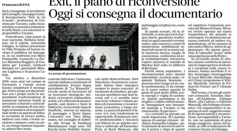 La proiezione di Exit sul Nuovo Quotidiano di Puglia