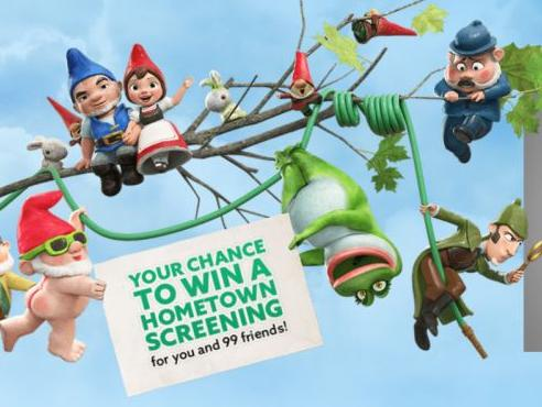 Sherlock Gnomes Hometown Screening Sweepstakes – Chance to Win A Hometown Screening