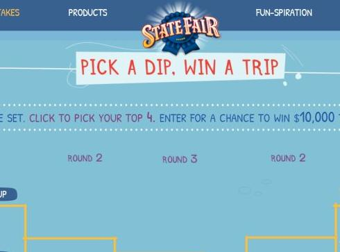 State Fair Corn Dog Dip-Off Sweepstakes – Chnace to Win $10,000, water bottle,skateboard and helmet,bean bag toss game Prize