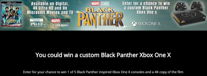 Black Panther Xbox One X Sweepstakes - Win custom Xbox One X Console