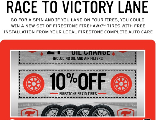 Race To Victory Lane Sweepstakes - Win 4 Firestone Firehawk Tires