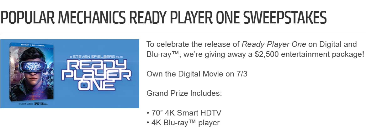 Popular Mechanics Sweepstakes >> Popular Mechanics Ready Player One Sweepstakes Win An