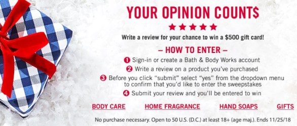 Bath & Body Works Product Review Sweepstakes