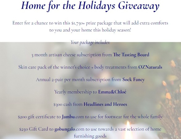Home For The Holidays Giveaway