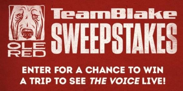 OleRed The Voice Team Blake Flyaway Sweepstakes