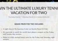 Play Your Court Dream Tennis Getaway Sweepstakes