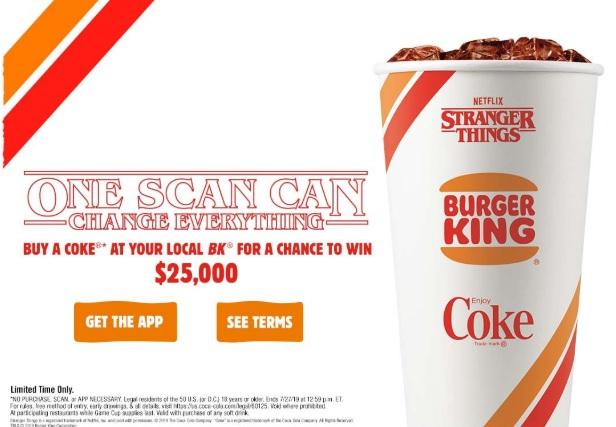 Burger King Stranger Things Sweepstakes - Win $25000 Check