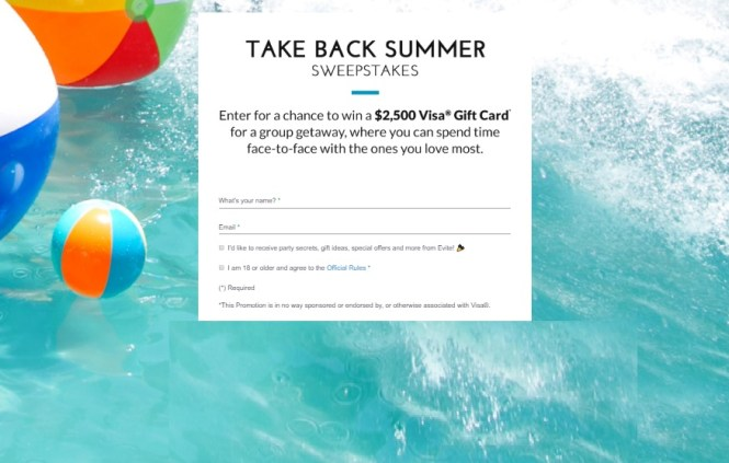 Evite Take Back Summer Sweepstakes - Win $2500 Gift Card