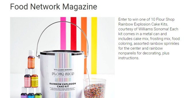 Food Network Magazine Rainbow Cake Sweepstakes