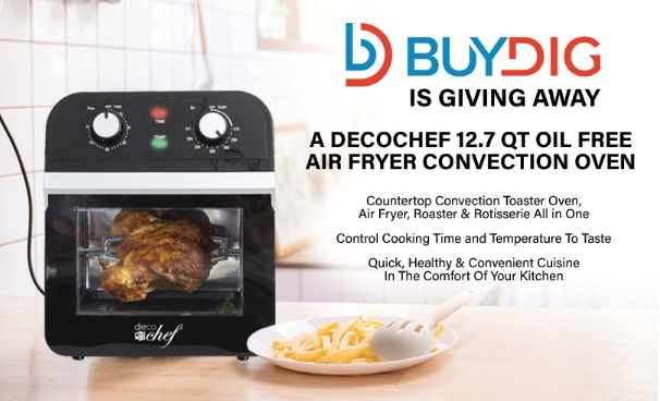 Buydig Decochef 12.7 Qt Air Fryer Giveaway