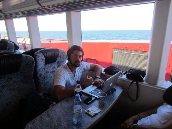 Hard at work on a ferry from Tallinn to Helsinki
