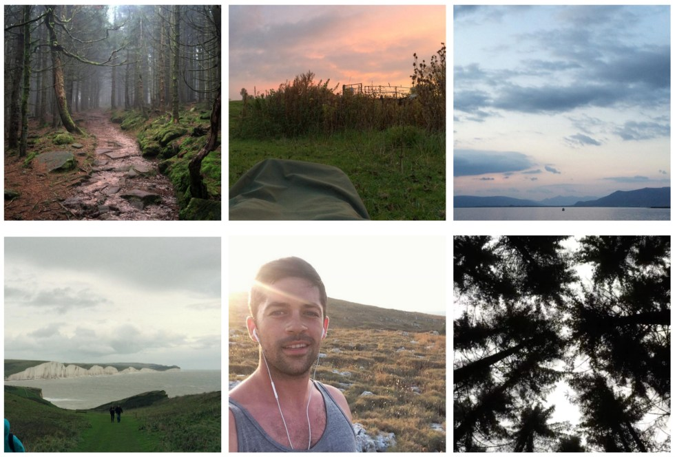 Clockwise from top-left: Black Forest, Germany; Microadventure northeast of London; View of the Atlantic from Reyjkavík, Iceland; Norwegian forest; selfie on a run outside Otranto, Puglia, Italy; Seven Sisters Park, Sussex, England.