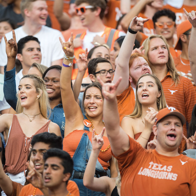 students ut football game hookem texas leader magazine spring 2019